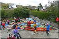 SH5571 : Sea kayaks at Menai Bridge slipway by Andy Waddington