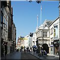 SX9192 : High Street, Exeter, the Guildhall and sign for one way pedestrian routing by David Smith