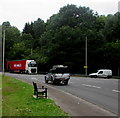 SO5012 : Roadside bench in Overmonnow, Monmouth by Jaggery