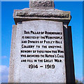 SK2503 : Inscription 1, Great War Memorial, Pooley Hall Colliery near Polesworth by Peter Warrilow