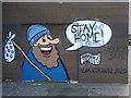 NS5864 : Coronavirus (covid-19) stay Home graffiti at Customhouse Quay by Thomas Nugent
