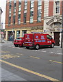 ST3188 : S&J May red van parked in High Street, Newport by Jaggery