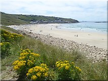 SW3526 : Looking west across Sennen Cove to Longships lighthouse in the far distance by Rod Allday