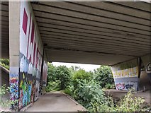 TQ5571 : Darent Valley Path and River Darent under the M25 by Paul Williams