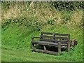 SJ6541 : Canalside bench seat near Coxbank in Cheshire by Roger  Kidd