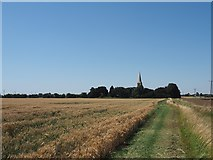 SE8317 : Footpath approaching the church of St Oswald by Graham Hogg
