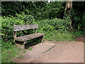 SO8584 : Canalside bench seat near The Hyde in Staffordshire by Roger  Kidd