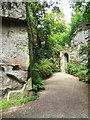 NZ0878 : Path in a rock cutting, Belsay Hall Gardens by Humphrey Bolton