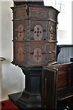 TM3464 : Rendham, St. Michael's Church: Fine c17th pulpit inscribed '1632 W.P.' by Michael Garlick