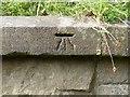 NZ1852 : Benchmark, Pea Road Railway Bridge by Adrian Taylor