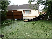J3731 : The overflowing Shimna swept away fences in properties bordering on Island's Park by Eric Jones