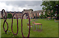 ST5545 : Sculpture commemorating the 800th anniversary of the Bishop's Palace, Wells by habiloid