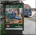 ST3188 : Morrisons price cuts advert on a city centre bus shelter, Newport by Jaggery