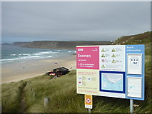 SW3526 : Information board above Sennen beach by Rod Allday