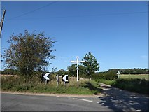 TM0435 : Constable, that's a Gainsborough: fingerpost in Higham Road by Basher Eyre