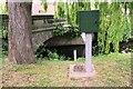 SE3593 : Water level monitor beside Willow Brook at Romanby Bridge by Luke Shaw