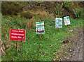 NT3338 : Covid notices, forestry road Innerleithen by Jim Barton