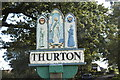 TG3201 : Thurton village sign by Adrian S Pye