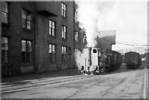 SJ3890 : Fireless loco at Crawford's biscuit factory – 1965  - 1 by Alan Murray-Rust