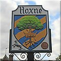 TM1877 : Hoxne village sign by Adrian S Pye