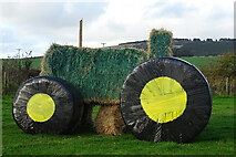 NJ9554 : Straw Tractor by Anne Burgess