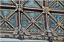 ST0207 : Cullompton, St. Andrew's Church: The magnificent nave wagon shaped roof (detail) 1 by Michael Garlick