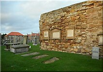 NO5402 : Old priory wall and gravestones by Richard Sutcliffe