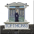 TM4394 : Toft Monks village sign by Adrian S Pye