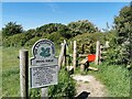 TQ5001 : National Trust Sign and Stile at Cradle Hill by PAUL FARMER