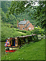 SO8583 : Moored narrowboat near Dunsley in Staffordshire by Roger  Kidd