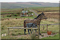 NY8781 : Horse & foal sculptures & Shepherd's Huts, Buteland by Andrew Curtis