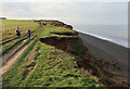 TG1443 : Recent cliff fall by Norfolk coast path by Hugh Venables