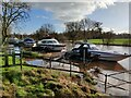 SO8071 : Moored boats along a flooded River Severn by Mat Fascione