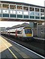 SS9079 : Train arriving at Platform 1, Bridgend station by Jaggery