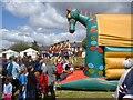SJ9593 : Bouncy Castle and swings by Gerald England