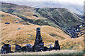 NN2309 : Mountain slopes beyond ruined cottage by Trevor Littlewood