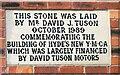 SJ9494 : Hyde YMCA Memorial Stone by Gerald England