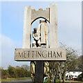 TM3689 : Mettingham village sign (back) by Adrian S Pye