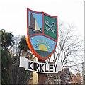 TM5491 : Kirkley village sign by Adrian S Pye