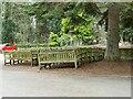 SE2238 : Stored benches, Rawdon Crematorium by Stephen Craven
