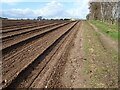 SO8350 : Footpath beside a ploughed field by Philip Halling