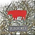 TM3968 : Yoxford village sign (detail) by Adrian S Pye