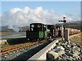 SH5738 : Train approaching Porthmadog by Adrian Taylor