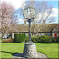 TL7190 : Feltwell village sign and almshouses by Adrian S Pye