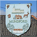 TL8093 : Mundford village sign (south face) by Adrian S Pye
