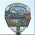 TF9129 : Hempton village sign (detail) (north face) by Adrian S Pye