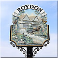 TF6923 : Roydon village sign (detail - south face) by Adrian S Pye