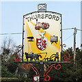 TF9734 : Thursford village sign (west face) by Adrian S Pye