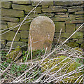 SE0811 : Drain marker stone, Deer Hill End Road, Meltham by Humphrey Bolton