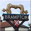 TG2223 : Brampton (Norfolk) village sign by Adrian S Pye